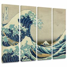 'The Great Wave Off Kanagawa' by Katsushika Hokusai 4 Piece Painting Print Gallery-Wrapped on Canvas Set
