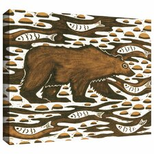 'Fishing Bear' by Nat Morley Painting Print Gallery-Wrapped on Canvas