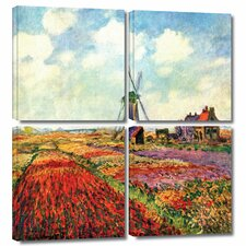 'Windmill' by Claude Monet 4 Piece Painting Print Gallery-Wrapped on Canvas Set