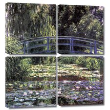 'Bridge at Sea Rose Pond' by Claude Monet 4 Piece Painting Print Gallery-Wrapped on Canvas Set