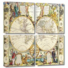 'Mappe-Monde Carte Universelle de la Terre Dressee' by Dunn 4 Piece Painting Print Gallery-Wrapped on Canvas Set