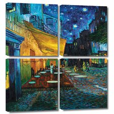 'Café Terrace at Night' by Vincent Van Gogh 4 Piece Painting Print Gallery-Wrapped on Canvas Set