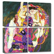 'Virgins' by Gustav Klimt 4 Piece Painting Print Gallery-Wrapped on Canvas Set