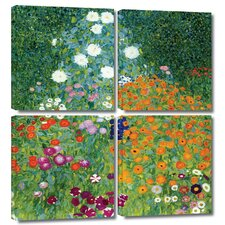'Farm Garden' by Gustav Klimt 4 Piece Painting Print Gallery-Wrapped on Canvas Set