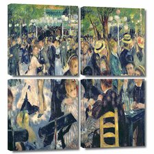 'Ball at the Moulin de la Galette' by Pierre Renoir 4 Piece Print of Painting Gallery-Wrapped on Canvas Set