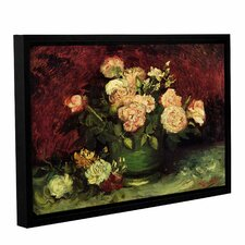 Roses And Peonies by Vincent Van Gogh Gallery-Wrapped Floater-Framed Canvas