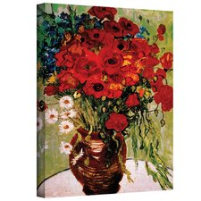'Red Poppies & Daisies' by Vincent Van Gogh Replication Print on Canvas