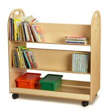 Double-Sided Sloped-Shelf Book Cart