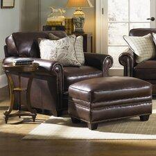 Burke Leather Armchair and Ottoman