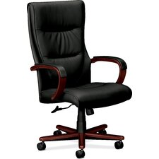 Basyx High Back Chair with Padded Wood Arms