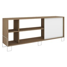 Accentuations Eye- catching Nacka TV Stand 2.0 with 4 Shelves and 1 Sliding Door in an Oak Frame with a White Door and Feet