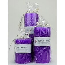 3 Piece French Lavender Scented Pillar Candle Set