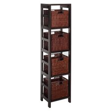 Espresso 4 Drawers Section Storage Shelf