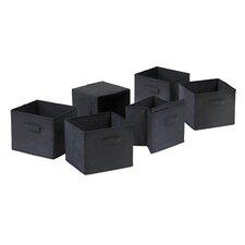 Capri Foldable Fabric Storage Basket in Black (Set of 6)