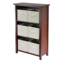 Verona Storage Shelf with 6 Foldable Beige Fabric Baskets