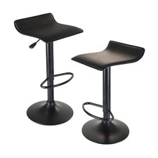 Obsidian Adjustable Height Swivel Bar Stool with Cushion (Set of 2)