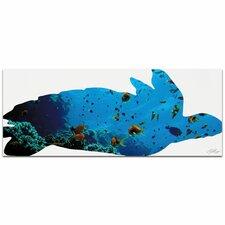 Sea Turtle Seascape | Contemporary Metal Animal Silhouette Graphic Art