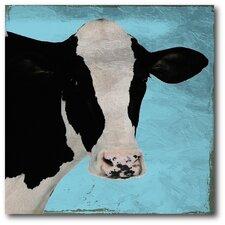 Blue Sky Cow Canvas Wall Art