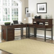 Cabin Creek Computer Desk with Keyboard Tray and Hutch