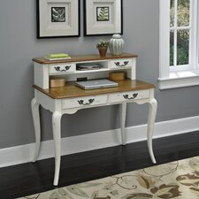 French Countryside Writing Desk with Hutch in White