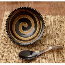 2 Piece Horn Swirl Serving Bowl Set