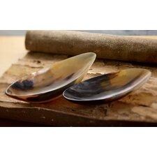 2 Piece Genuine Horn Boat Bowl Set