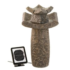 Temple Sculpture Solar Water Fountain
