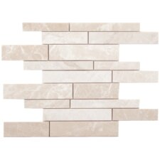 Alara Crema Strips Random Sized Marble Brushed Mosaic in Light Beige