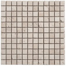 Travertine Mosaic Tumbled Tile in Light Ivory