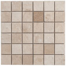 Travertine Mosaic Filled and Honed Tile in Light Ivory