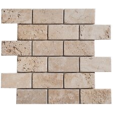 "Light Ivory Brick 4"" x 2"" Travertine Tumbled Mosaic"