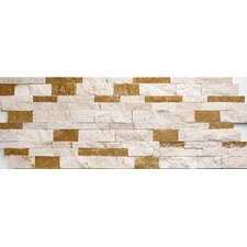 Ivory-Noce Mix Travertine Split Face Random Sized Wall Cladding Mosaic