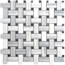 Equator Basketweave Random Sized Marble Polished Mosaic in White and Gray