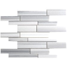 Equator Random Sized Marble Mosaic Strip Polished Tile in White and Gray
