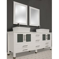 "White Emerald 65"" Double Bathroom Vanity Set"