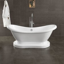 "Acrylic Double Ended 68"" X 28"" Pedestal Slipper Bathtub"
