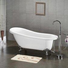 """61.75"""" x 31"""" Claw Foot Slipper Soaking Bathtub"""