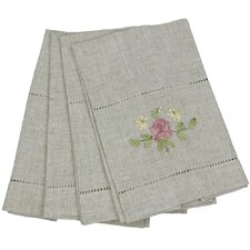 Ribbon Embroidery Rose on Natural Linen with Hemstitch Tea Towel (Set of 4)