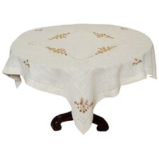 Linen Flowers Crewel Embroidered with Hemstitch Cutwork Table Topper