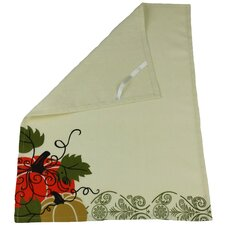 Pumpkin Embroidered Polyester with Suede Accents Tea Towel