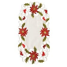 Poinsettia Lace Embroidered Cutwork Tray Cloth (Set of 4)