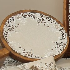 Scrolling Rose Embroidered Cutwork Round Doily (Set of 4)