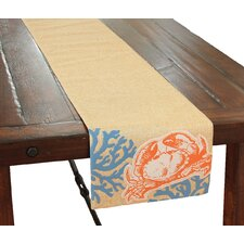 Coastal Applique Crab with Print Coral Table Runner