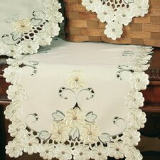 Emerald Daisy Embroidered Cutwork Table Runner