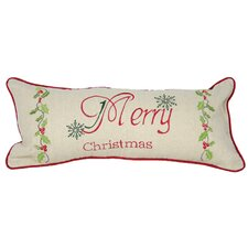 Holiday Merry Christmas with Holly Bolster Pillow