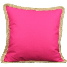 Classic Jute Trimmed Solid Throw Pillow