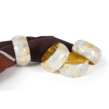 Mother of Pearl Elegant Rounded Inlay Metal Napkin Ring (Set of 4)