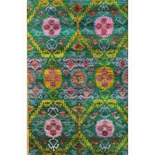 Sari Silk Hand-Knotted Multi-colored Area Rug