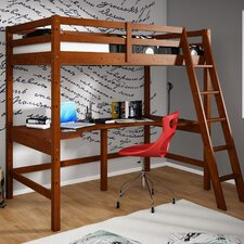 Donco Kids Twin Loft Bed with Double Shelves