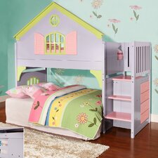 Donco Kids Twin Doll House Loft Bed with Staircase